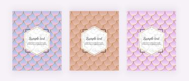 Modern covers with mermaid scales. Mermaid tail with marble texture and golden lines. Trendy backgrounds for birthday, party, invi royalty free illustration