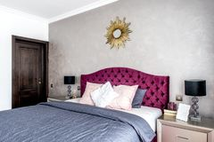 Modern and cozy interior bedroom design. master bedroom with decoration Stock Photos