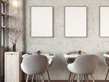Modern cozy restaurant interior with blank picture frames. 3d rendering. Modern cozy restaurant interior with blank picture frames on the wall. 3d rendering royalty free stock images