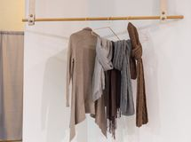 Modern cozy wardrobe with clothes hanging on wooden hanger. Interior design concept Royalty Free Stock Photography