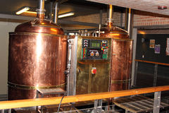 Modern craft automated copper beer brew kettle Stock Image
