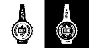 Modern craft beer drink isolated vector logo sign branding for brewery, pub, brewhouse or bar. Premium quality bottle logotype tee print badge illustration Royalty Free Illustration
