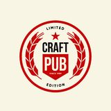 Modern craft beer drink vector logo sign for bar, pub, brewhouse or brewery isolated on light background. Premium quality logotype tee print illustration royalty free illustration