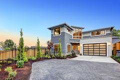Modern craftsman style home exterior. Royalty Free Stock Photography
