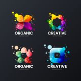Abstract organic vector isolated logo sign. Multicolor logotype emblem illustration set. Fashion colorful badge design bundle. Modern creative abstract organic vector illustration