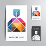 Modern creative business card man shape design. Stock Photo