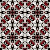 Modern creative greek style abstract 3d seamless pattern. Vector. Floral black white red beautiful background. Intricate hand drawn flowers, swirls. Red greek stock illustration