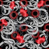Modern creative greek style abstract seamless pattern. Vector floral black white red beautiful grunge background. Red 3d flowers, greek key meanders, musical Stock Photo