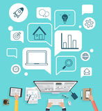Modern creative office workspace for business Royalty Free Stock Images
