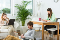 Modern creative workplace Stock Images