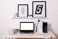 Modern creative workspace. Stock Photo