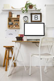 Modern creative workspace. Royalty Free Stock Image
