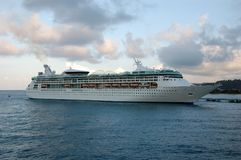 Modern cruise ship. Large cruise ship docked in tropical port royalty free stock images
