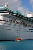 Modern Cruise Ship Deploys Lifeboats Stock Photography
