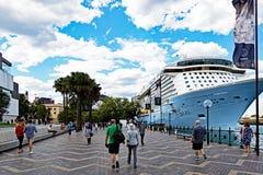 Modern Cruise Ship Docked at Circular Quay,  Sydney Harbour,  Australia Stock Photography