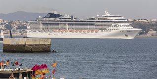Modern cruise ship in front of lisbon portugal Royalty Free Stock Photo