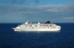Modern cruise ship at sea. Excitement on board exotic trip to the Caribbean Stock Photos