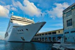 The modern cruiser ship MSC ARMONIA docked in the Port of Havana. HAVANA,CUBA - FEBRUARY 15,2017 : The modern cruiser ship MSC ARMONIA docked in the Port of Royalty Free Stock Photography