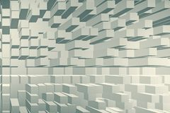 Modern cubes backdrop. Modern light cubes brick backdrop with shadows. Design and style concept. 3D Rendering royalty free illustration