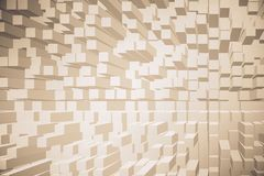 Modern cubes wallpaper. Modern light cubes brick wallpaper with shadows. Design and style concept. 3D Rendering royalty free illustration