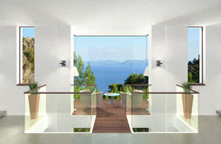 Modern cubic interior. Rendering of a modern interior with glass bay Stock Images