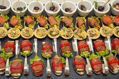Modern Cuisine. Modern Canapes Food Served in Bended Spoons Stock Images