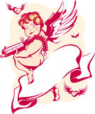 Modern cupid with banner. Vector illustration of a modern cupidon with a machine gun, banner and hearts with wings. Symbol of St. Valentine's Day Stock Photography