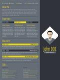 Modern curriculum vitae resume with dark background Stock Photography