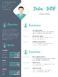 Modern curriculum vitae resume with photo Royalty Free Stock Photos