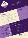 Modern curriculum vitae resume with purple stripes Royalty Free Stock Photo