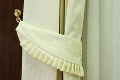 Modern curtain in hotel  with hook. On warm feeling, left Stock Photos
