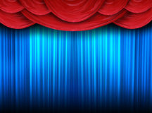 Modern curtains of a stage. Red curtain of a classical theater Royalty Free Stock Photography