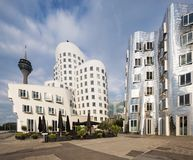 Busty architectures in Dusseldorf. Modern curved buildings in Dusseldorf Royalty Free Stock Image