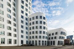 Busty architectures in Dusseldorf. Modern curved buildings in Dusseldorf Royalty Free Stock Photos