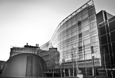 Modern curved glass building. New glass building on campus of the University of Michigan, Ann Arbor Stock Image