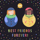 Modern cute and funny cartoon matryoshkas (red hair and african american). Best friends forever card and background. Royalty Free Stock Images