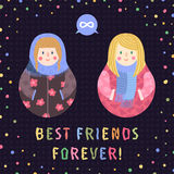 Modern cute and funny cartoon Matryoshkas (red hair and blond). Best friends forever card and background. Stock Photography