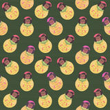 Modern cute and funny cartoon naive african american matrioshka pattern with stripes. Royalty Free Stock Photos
