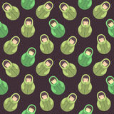 Modern cute and funny cartoon naive brown hair russian doll pattern. Royalty Free Stock Photography