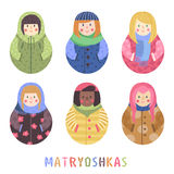 Modern cute and funny cartoon naive matryoshka set. Royalty Free Stock Photo