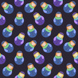 Modern cute and funny cartoon naive red hear russian doll pattern. In blue and purple colors Royalty Free Stock Images