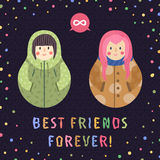 Modern cute and funny cartoon russian dolls (brunette and pink hair). Best friends forever card and background. Stock Photography