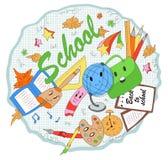 Modern, cute, hand drawn school items in cartoon style. First school day, school items: globe, pencils, pen, brushes, paint, leaves, school bag, cute stars Stock Image