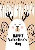 Modern and cute invitation card for Valentine`s day. Vector illustration Stock Photography