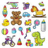 Modern Cute 80s-90s Retro Baby Isolated Fashion Cartoon Illustration Set. Suitable for Badges, Pins, Sticker, Patches, Fabric, Denim, Embroidery and Other Girly Stock Image