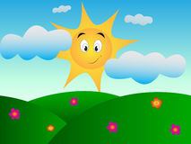 Modern cute sun with happy smile on meadow. To colloring book Royalty Free Stock Images