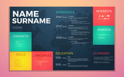 Modern cv resume template. Bright contrast colors infographic with curriculum vitae infographic. Boxes and text Royalty Free Stock Photo