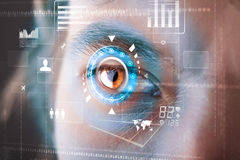Modern cyber man with technology screen eye panel Stock Photography