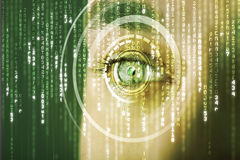 Modern cyber soldier with target matrix eye Royalty Free Stock Image