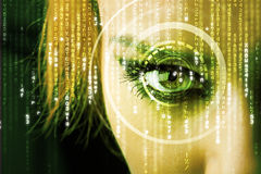 Modern cyber woman with matrix eye Royalty Free Stock Photos